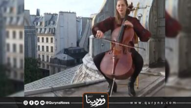 Photo of فرنسية تعزف تشيلو من فوق سطح معهد باريس