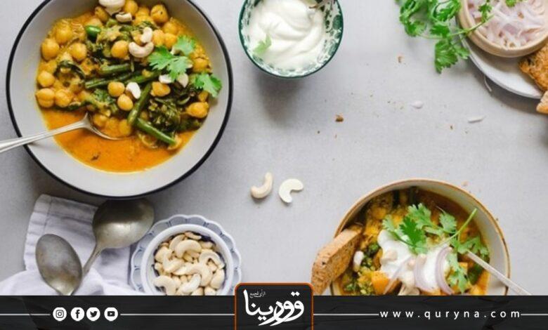 Photo of البطاطس الحلوة بالكاري مع الكاجو والبازلاء للغداء