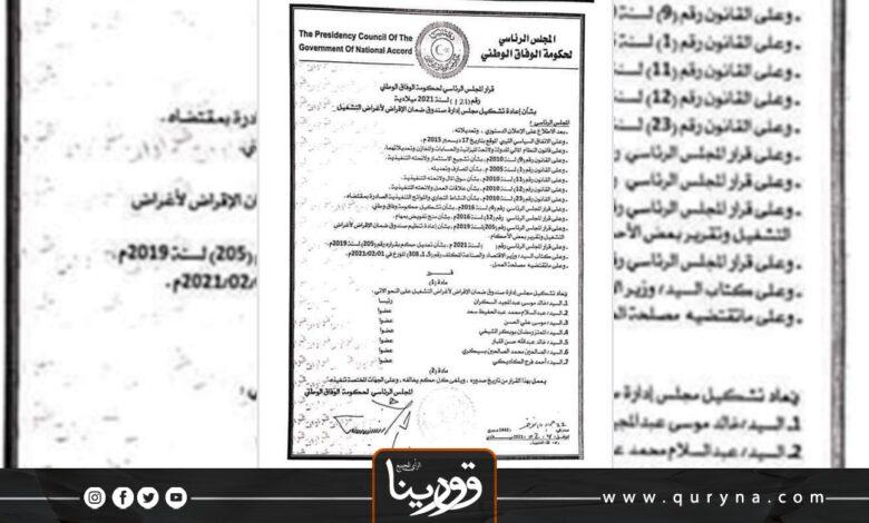 Photo of إعادة تشكيل مجلس إدارة صندوق ضمان الأقراض لأغراض التشغيل