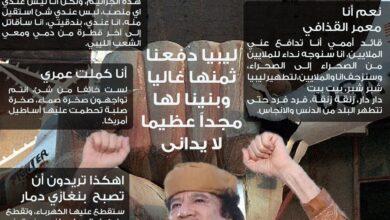 Photo of مقتطفات من خطاب القائد الشهيد معمر القذافي يوم 22 شهر النوار . فبراير . 2011 من أمام بيت العز البيت الصامد