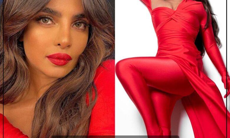 Photo of إطلالة لافتة باللون الأحمر للممثلة الهندية بريانكا شوبرا