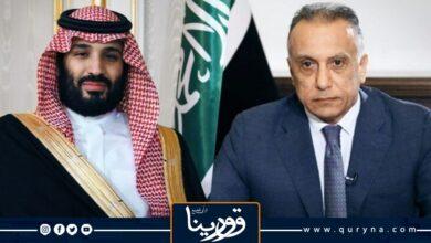 Photo of السعودية تستقبل رئيس الوزراء العراقي وترسم علم العراق في الجو