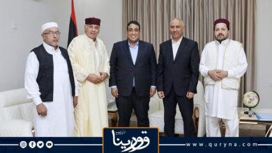 Photo of المنفي يستقبل أعضاء الهيئة الوطنية لأعيان ومشايخ ليبيا