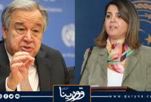 Photo of وزيرة الخارجية تبحث مع الأمين العام للأمم المتحدة تنفيذ بنود خارطة الطريق ودعم وقف إطلاق النار